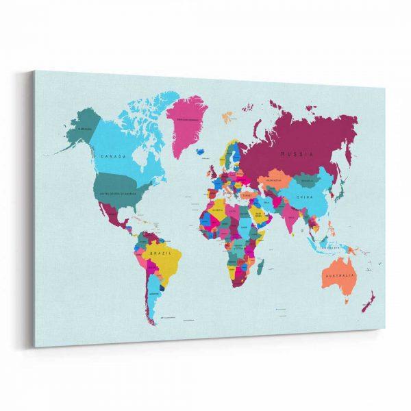 Renkli Dünya Haritası Dünya Haritası Kanvas Tablo